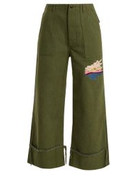 Bliss and Mischief - Sunset-embroidered Cropped Cotton-drill Trousers - Lyst