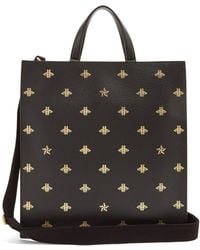 Gucci - Bee-print Leather Tote - Lyst