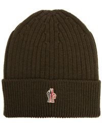 5c27a0cfe4d40 Moncler Grenoble - Logo Embroidered Wool Beanie Hat - Lyst