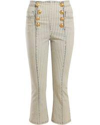 Balmain - Striped Kickflare Jeans - Lyst
