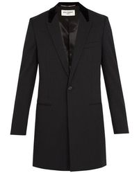 Saint Laurent - Contrast-collar Single-breasted Wool Coat - Lyst