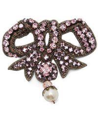 Gucci - Bow Crystal-embellished Brooch - Lyst