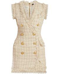 efc3ee40 Balmain - Tweed Frayed Edge Mini Dress - Lyst