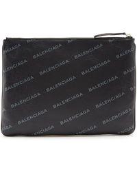 Balenciaga - Logo-print Leather Pouch - Lyst