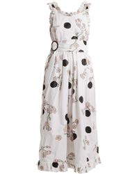 Isa Arfen Ruffle Trimmed Polka Dot Print Cotton Dress