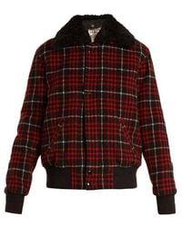 Saint Laurent - Checked Wool-blend Bomber Jacket - Lyst