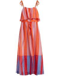 Diane von Furstenberg - Striped Cotton And Silk-blend Gauze Maxi Dress - Lyst