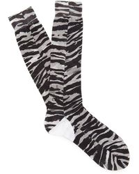 Prada - Tiger-print Cotton Socks - Lyst