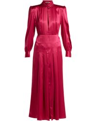 Alessandra Rich - Robe plissée en satin de soie à empiècements - Lyst