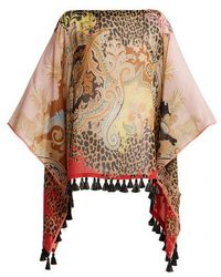 Etro - Leopard And Paisley-print Silk Poncho - Lyst