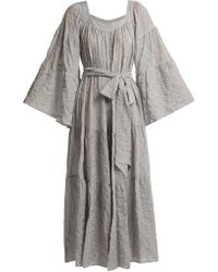 Lisa Marie Fernandez - Tiered Seersucker Dress - Lyst