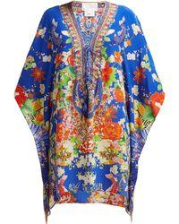 Camilla Printed Silk Kaftan - Blue