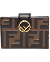 Fendi - Black And Brown F Is Multi Card Holder - Lyst