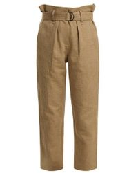 Brunello Cucinelli - Paperbag-waist Straight-leg Cropped Trousers - Lyst