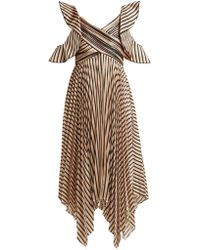 Self-Portrait - Asymmetric Striped Satin Dress - Lyst