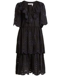 See By Chloé - Geometric Floral-embroidery Cotton Dress - Lyst