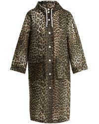 Ganni - Leopard-print Rain Mac - Lyst
