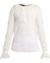 Rochas - Polka-dot Embroidered Tulle Blouse - Lyst