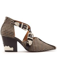 Toga - Buckle-fastening Checked Wool Ankle Boots - Lyst