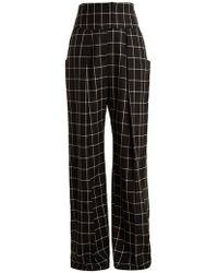 Preen By Thornton Bregazzi - Ida Windowpane-checked Wide-leg Wool Trousers - Lyst