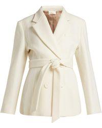 Sara Battaglia - Double-breasted Tie-waist Wool-blend Jacket - Lyst