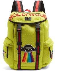 Gucci Hollywood-embroidered Mesh Backpack - Multicolour