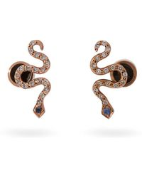 Ileana Makri - - Little Snake 18kt Rose Gold And Sapphire Earrings - Womens - Gold - Lyst