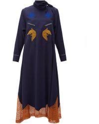 Toga - Tie Neck Embroidered Midi Dress - Lyst