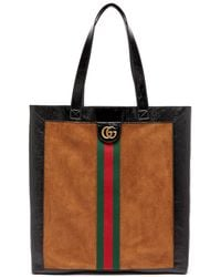 Gucci - Ophidia Suede Large Tote With Leather Trim - Lyst