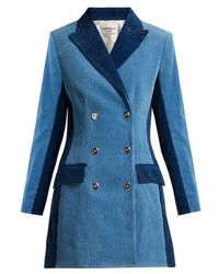 Sonia Rykiel - Panelled Double-breasted Corduroy Coat - Lyst