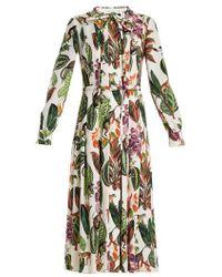 Oscar de la Renta - Jungle-print Tie-neck Silk-blend Georgette Dress - Lyst
