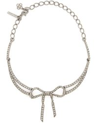Oscar de la Renta - Bow Crystal Embellished Necklace - Lyst