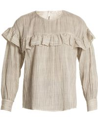 MASSCOB | Ruffle-trimmed Checked-cotton Top | Lyst