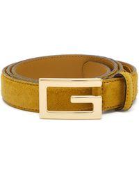 Gucci - Logo Buckle Suede Belt - Lyst