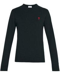 AMI - De Coeur Logo-embroidered Wool Sweater - Lyst