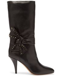 Valentino - Bow-embellished Leather Boots - Lyst