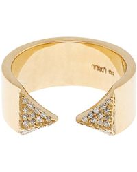 Ileana Makri - White Diamond & Yellow Gold Pyramid Ring - Lyst
