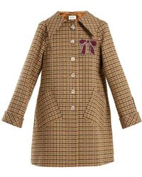 Gucci - Bow-appliqué Single-breasted Checked Coat - Lyst