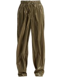 Edward Crutchley - Drawstring Waist Wide Leg Shell Trousers - Lyst