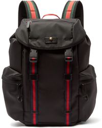 Gucci - Techno Web Stripe Canvas Backpack - Lyst