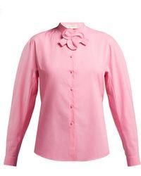 Delpozo - Floral Detail Cotton Shirt - Lyst