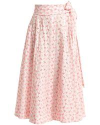 Lisa Marie Fernandez - Embroidered Eyelet Cotton Midi Skirt - Lyst