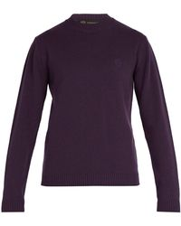 Versace - Medusa Embroidered Wool Sweater - Lyst