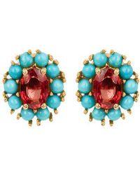 Sapphire, turquoise & yellow-gold earrings Ileana Makri