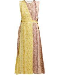 Emilia Wickstead - Python Print Linen Panelled Midi Dress - Lyst