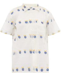 Bode - Apple Embroidered Sheer Cotton Bowling Shirt - Lyst