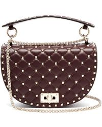 Valentino - Rockstud Spike Saddle Leather Shoulder Bag - Lyst