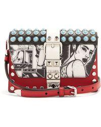 636024f00524 Prada - Comic Print Stud Embellished Leather Bag - Lyst