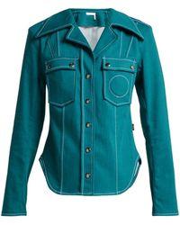 7898f1c0375e8 Lyst - Chloé Ruffle Collar Denim Shirt in Blue