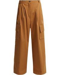 Natasha Zinko - Crystal-embellished Wide-leg Cotton Trousers - Lyst